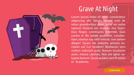 Grave at Night Conceptual Banner