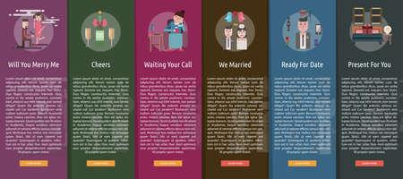 romance bed: Valentine Vertical Banner Concept Illustration