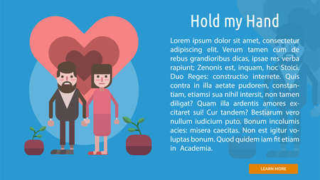 Hold My Hand Conceptual Banner Çizim