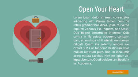 open your heart: Open Your Heart Conceptual Banner Illustration
