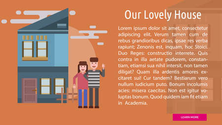 our: Our Lovely House Conceptual Banner Illustration