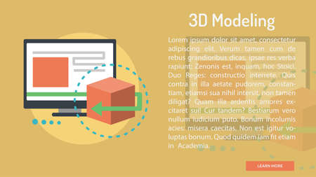 3D Modeling Conceptual Banner Ilustração