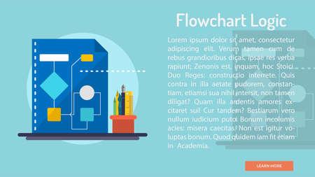 Flowchart Logic Conceptual Banner Ilustrace