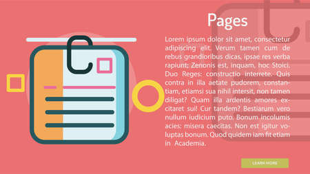 Pages Conceptual Banner Illustration