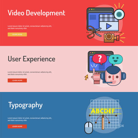 Web and Development Conceptual Banner Design. Çizim