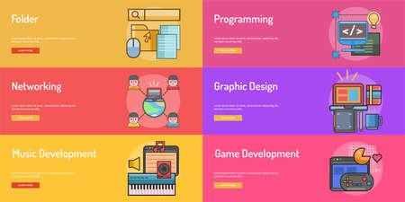 Web、開発概念バナー デザイン。