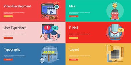 Web and Development Conceptual Banner Design. Ilustracja