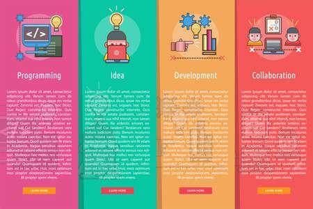 Web en ontwikkeling verticale Banner Concept Stock Illustratie