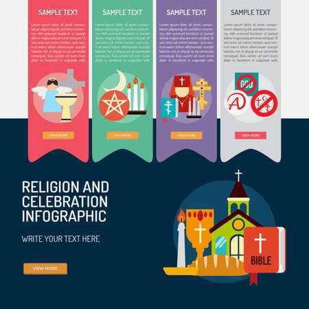 catholicism: Infographic Religion and Celebrations Illustration