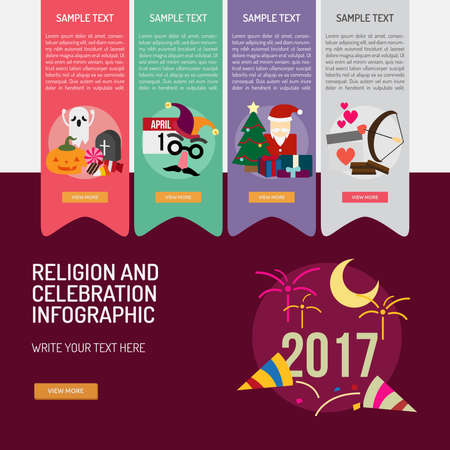 Infographic Religion and Celebrations 向量圖像