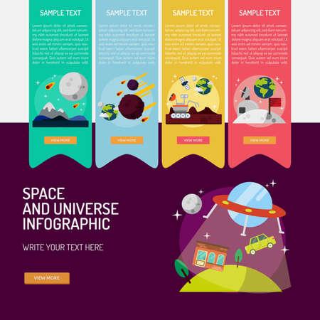 インフォ グラフィックの空間、宇宙。  イラスト・ベクター素材