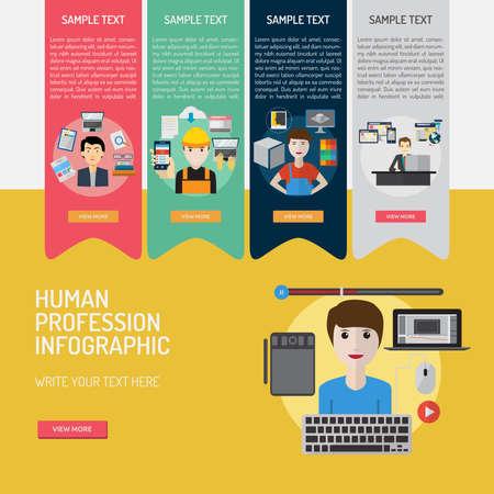 Infografía Profesión Humana. Foto de archivo - 73256817