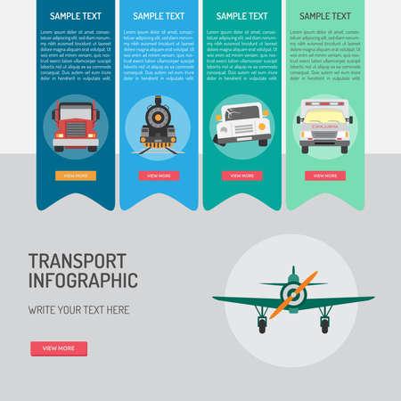 トランスポート インフォ グラフィック アイコン デザイン、平面、救急車、鉄道、車を意味します。