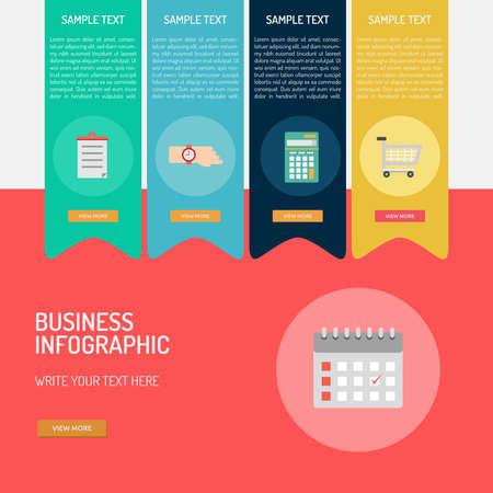 ビジネス インフォ グラフィック カレンダー、ショッピングカート、電卓アイコン デザイン