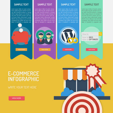 E-Commerce Infographic banner and icon design.