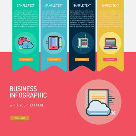 Business Infographic banner icon design, web, phone, computer Illustration