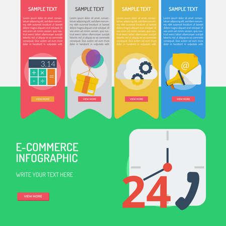 E コマースのインフォ グラフィック アイコン バナー デザイン、24 時間利用可能な概念。