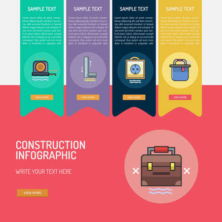 Construction icon Infographic banner design