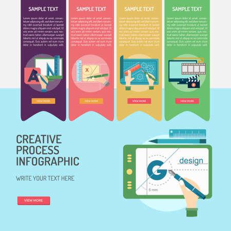 Architectural Infographic Creative Process icon banner design