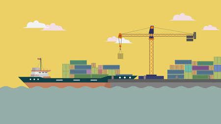 Harbor Ship Background Ilustrace