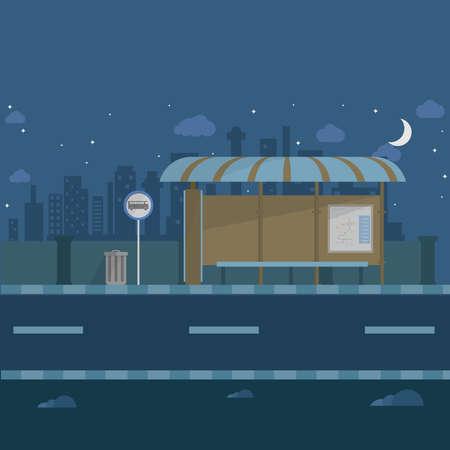 Bus Terminal at Night Background