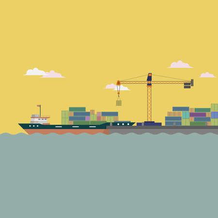 Harbor Ship Background Иллюстрация