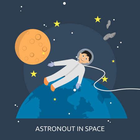 スペース概念設計の宇宙飛行士。  イラスト・ベクター素材