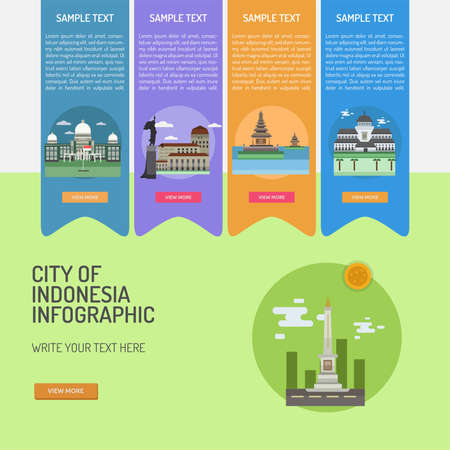 Infographic City of Indonesian illustration. Ilustração