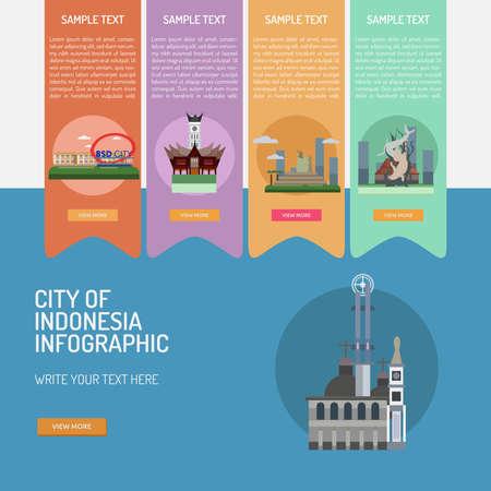 metropolitan: Infographic City of Indonesian illustration. Illustration