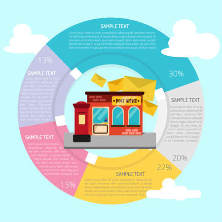 post office building: Post Office Infographic Illustration