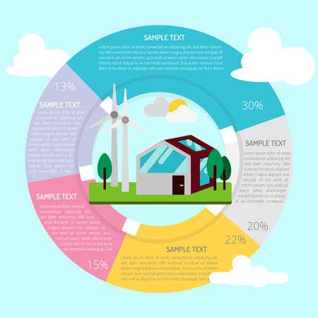 Energieeffizientes Haus Infographik Standard-Bild - 80625286