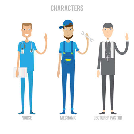 pastor: Characters Set Illustration