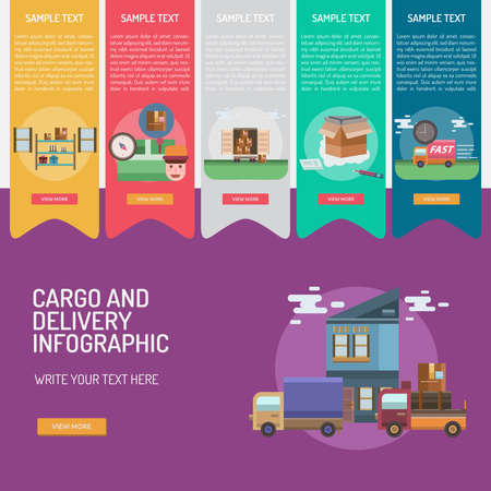 Infographic Cargo and Delivery Stock Vector - 81699469