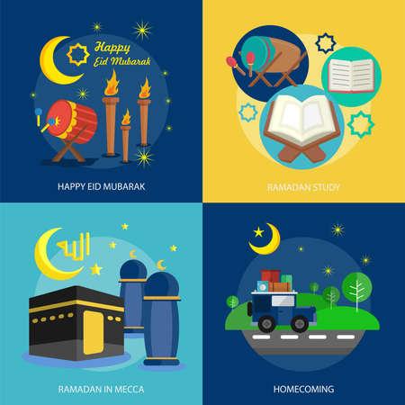 Ramadan and Eid Mubarak Conceptual Design Vettoriali