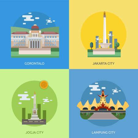 City of Indonesia Conceptual Design Stock Vector - 80778863
