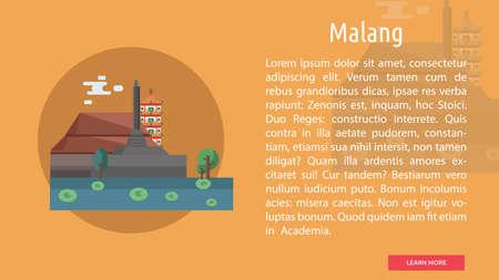 マラン市のインドネシアの概念設計  イラスト・ベクター素材