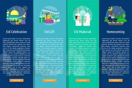 Eid Mubarak Vertical Banner Concept Illustration