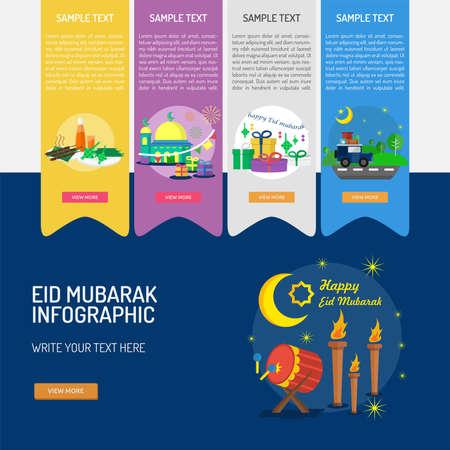 Eid Mubarak Infographic. Vector illustration.
