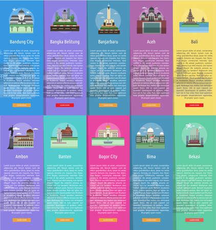 인도네시아의 도시 수직 배너 개념