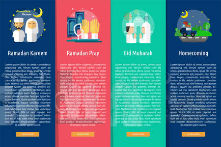 homecoming: Ramadan and Eid Mubarak Vertical Banner Concept Illustration