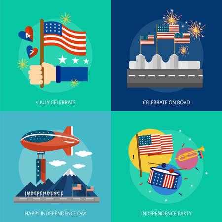 nationalism: Independence Day of USA Conceptual Design Illustration