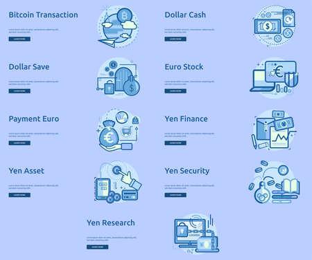 通貨概念のバナー デザイン  イラスト・ベクター素材