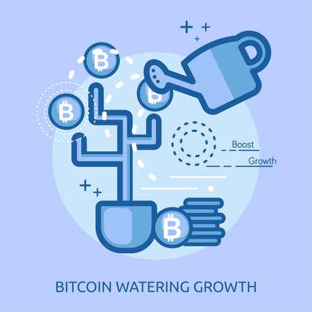 水遣りの成長概念設計図。  イラスト・ベクター素材