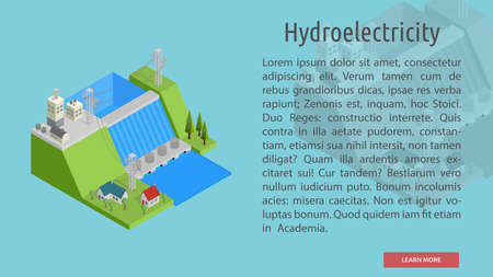 Isometric Hydroelectricity Conceptual Banner