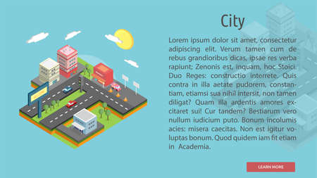 market place: Isomatric City Conceptual Banner