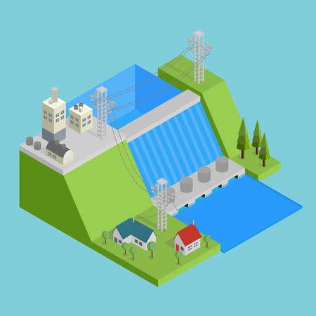 Conception conceptuelle de l'hydroélectricité isométrique Banque d'images - 83746442