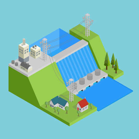 hydroelectricity: Isometric Hydroelectricity Conceptual Design