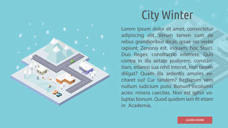 Isometric City Winter Conceptual Banner Ilustrace