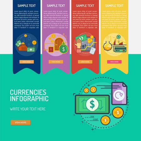 Infographic Currencies Vector illustration. Illustration