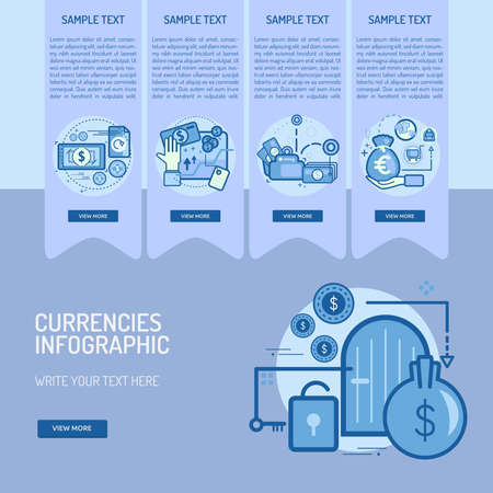 Infographic Currencies Vector illustration. 向量圖像